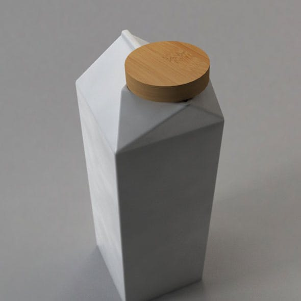 Milk Box Porcelain with Bamboo Cap - 3DOcean Item for Sale