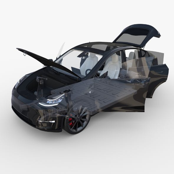 Tesla Model Y RWD Black with interior and chassis - 3DOcean Item for Sale
