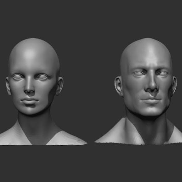 Male and Female Head Realistic Base Mesh 3D Model