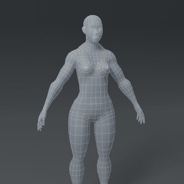 Superhero Female Body Base Mesh 3D Model