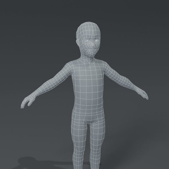 Boy Kid Child Body Base Mesh 3D Model