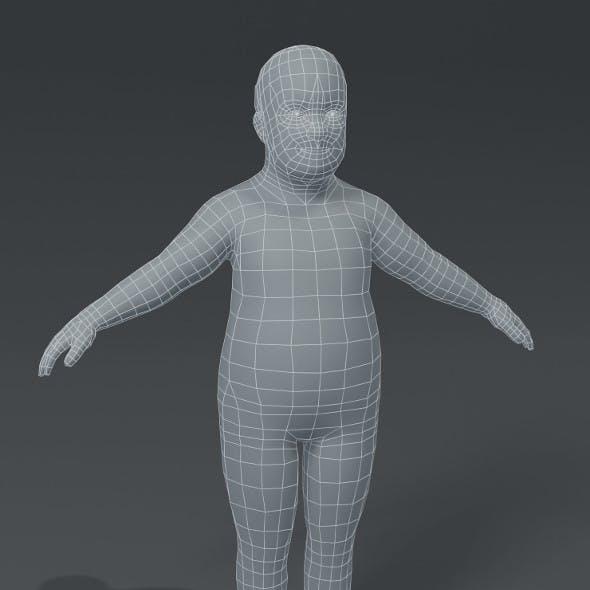 Fat Boy Kid Child Body Base Mesh 3D Model