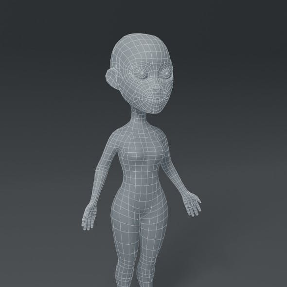 Female Body Cartoon Base Mesh 3D Model