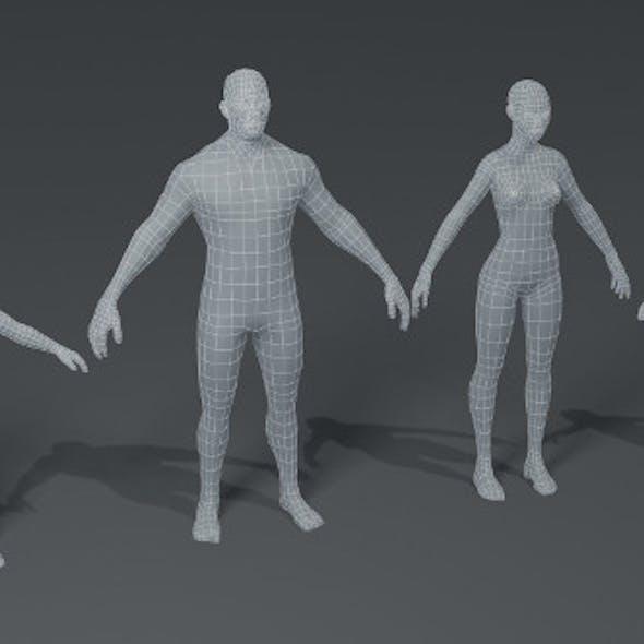Fat Human Body Base Mesh 3D Model Family Pack