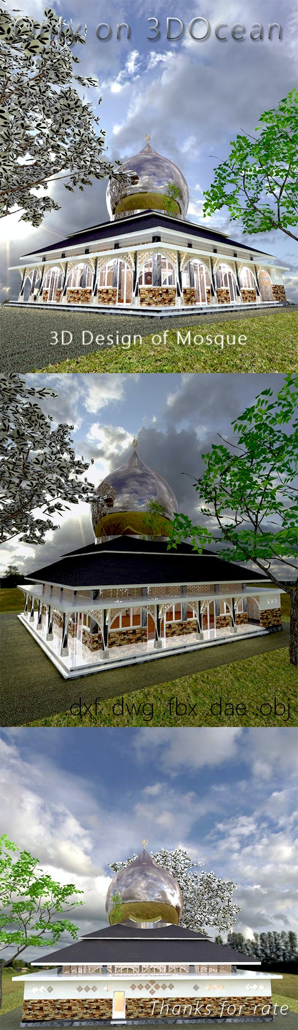 3D Design of Mosque - 3DOcean Item for Sale