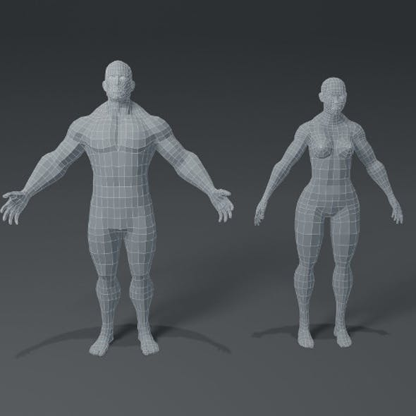 Superhero Muscular Human Male Female Body Base Mesh 3D Model