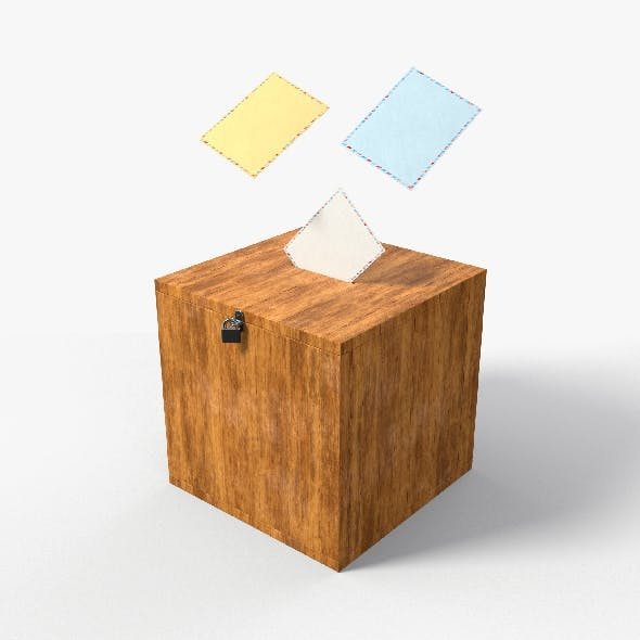 Election Vote box with Padlock and Envelope PBR Textures