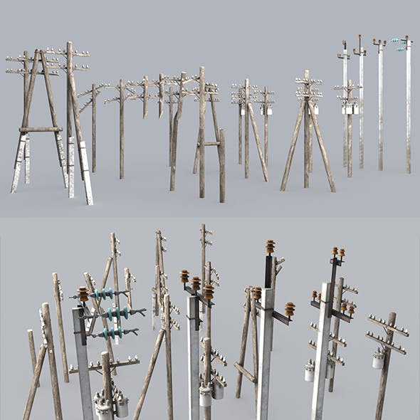 Set electric poles whole and broken