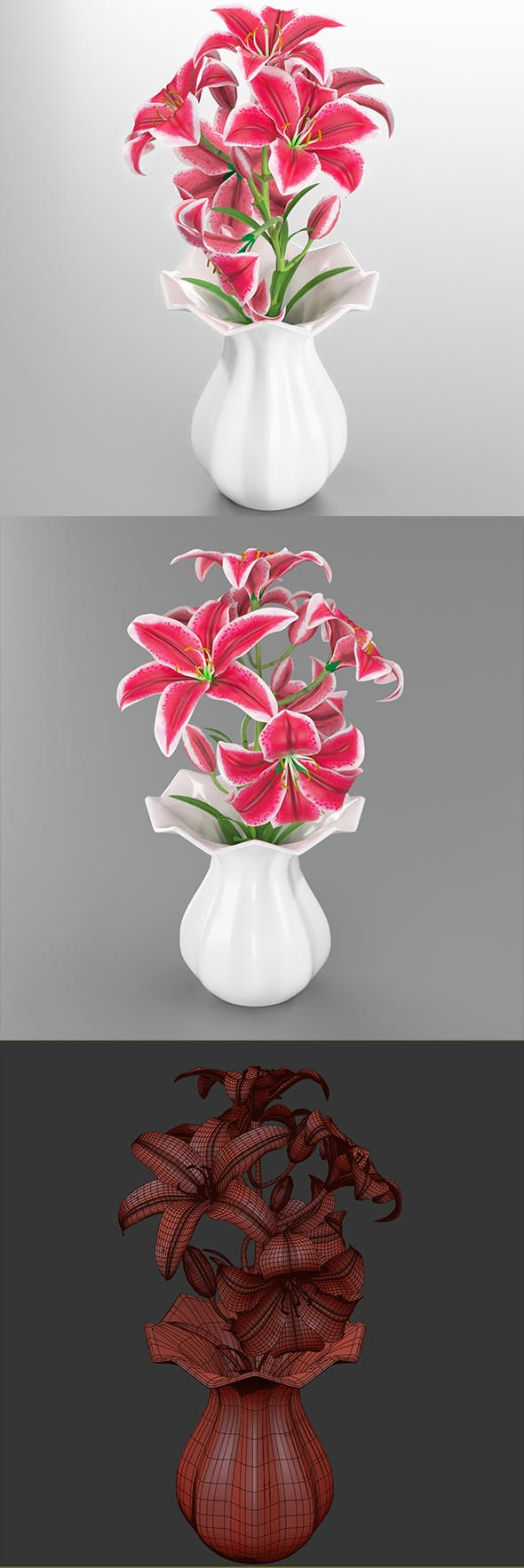 Lily pink tiger in vase - 3DOcean Item for Sale