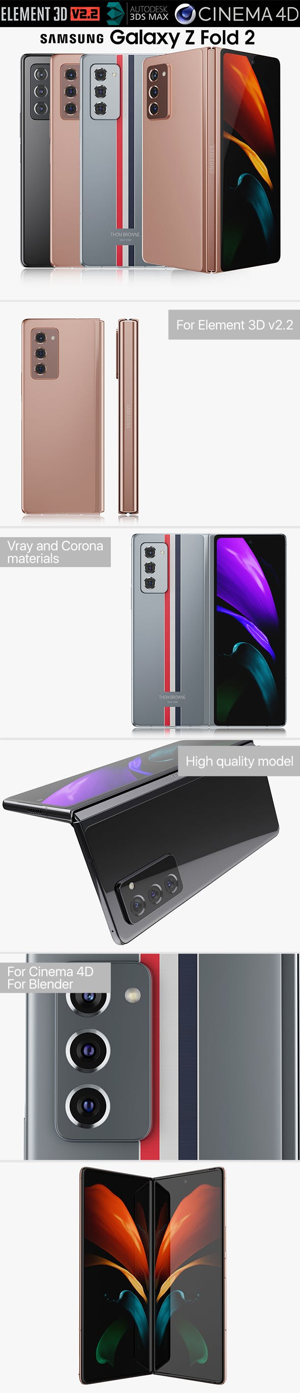 Samsung Galaxy Z Fold 2 all colors - 3DOcean Item for Sale