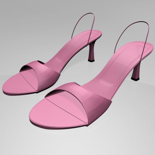 Spool-Heel Slingback Sandals 01 - 3DOcean Item for Sale