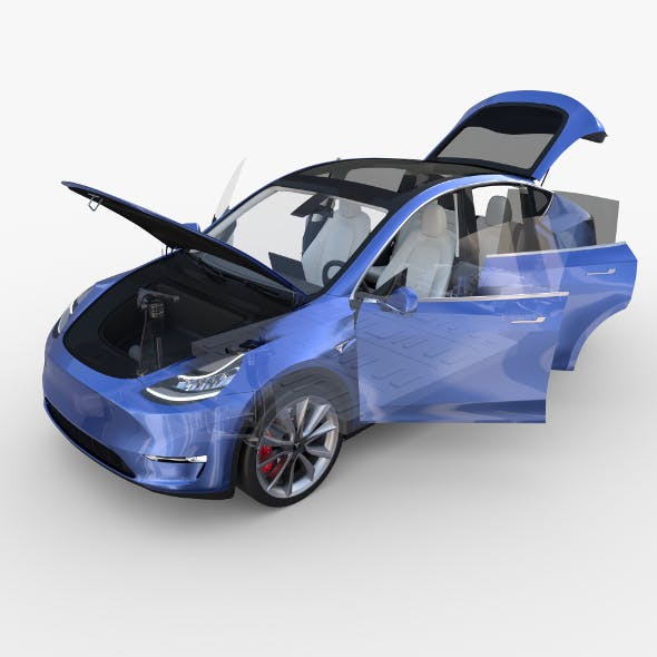 Tesla Model Y RWD Blue with interior and chassis - 3DOcean Item for Sale