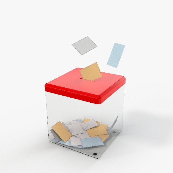 Glass Vote Box and Envelopes with PBR Textures