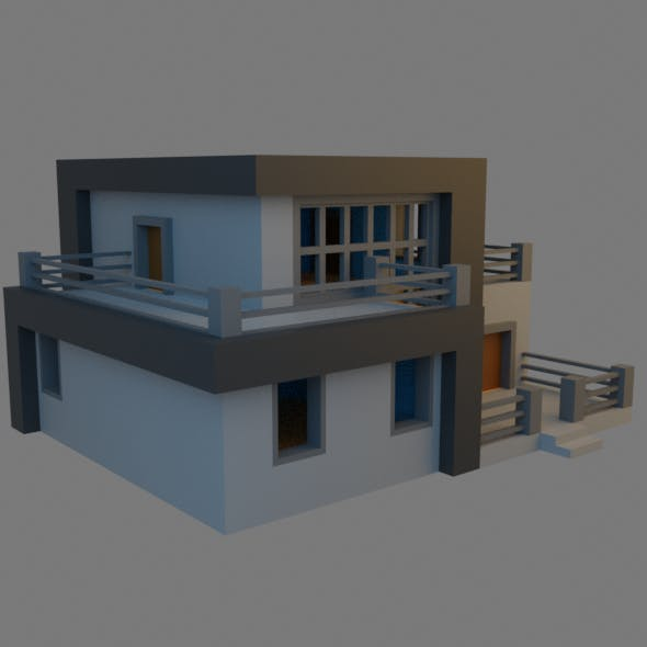 Low-Poly Modern House
