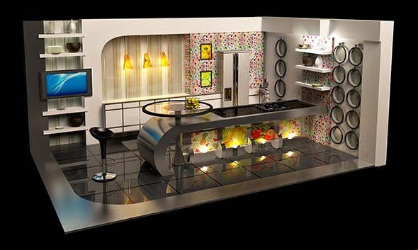 Virtual TV kitchen Studio Broadcast - 3DOcean Item for Sale