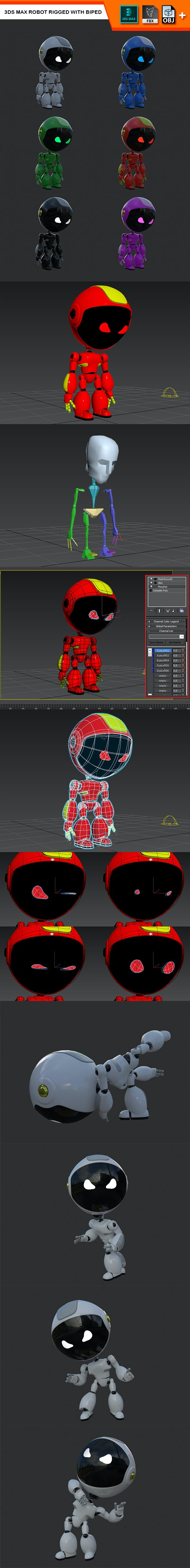 3Ds Max Robot Rigged with Biped - 3DOcean Item for Sale