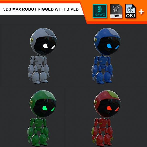 3Ds Max Robot Rigged with Biped