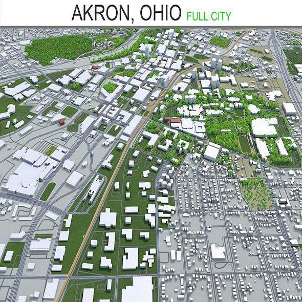 Akron City Ohio 3D Model 25km