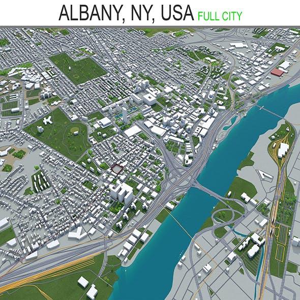 Albany City NY, USA 3D Model 40km