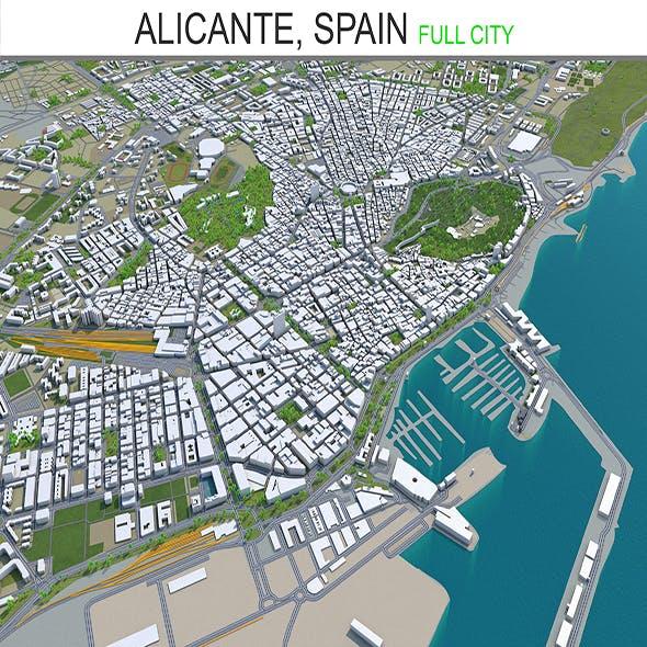 Alicante city Spain 3D Model 40km