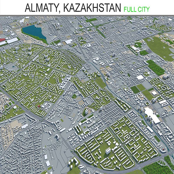 Almaty City Kazakhstan 3D Model 60 km