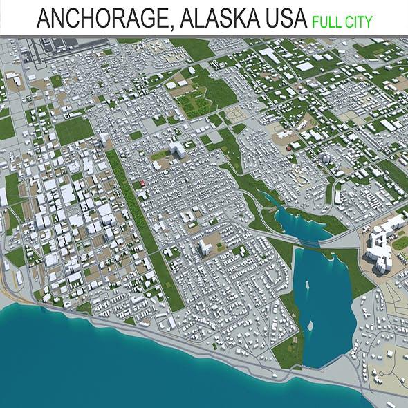 Anchorage City Alaska USA 3D Model 220 km