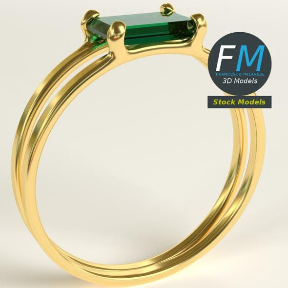 Emerald double ring