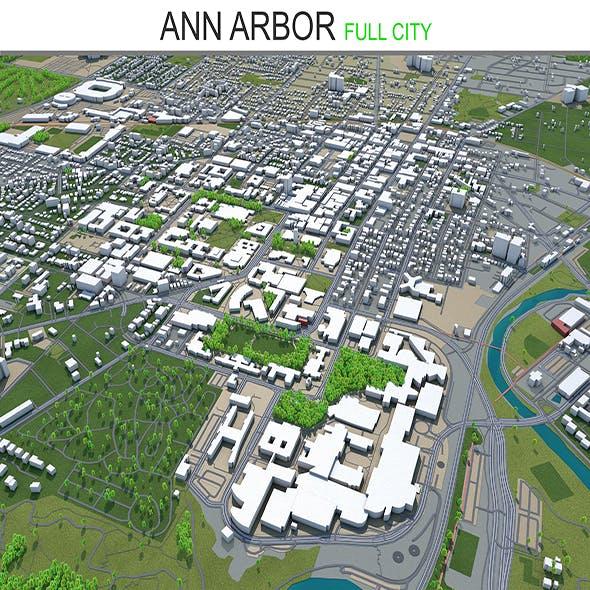 Ann Arbor City 3D Model 30km