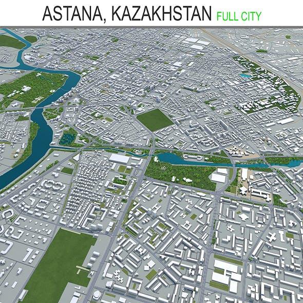 Astana city Kazakhstan 3d model 70km