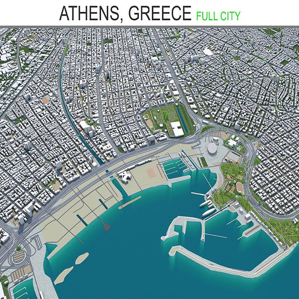 Athens city Greece 3d model 60km
