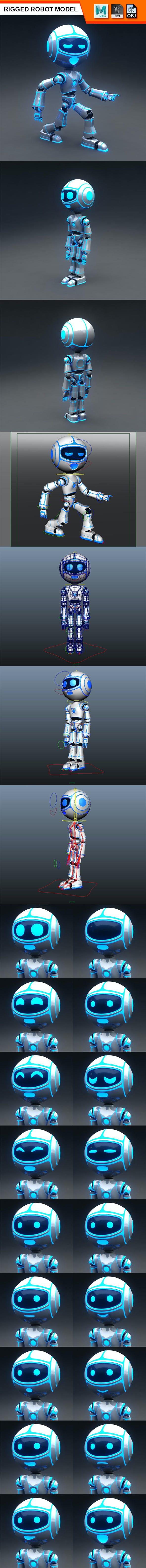 Full Rigged Robot Model - 3DOcean Item for Sale