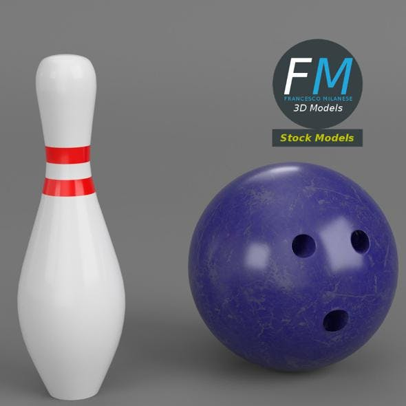 Bowling ball and pin - 3DOcean Item for Sale