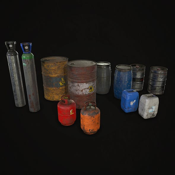 Barrels Drums and Containers - Low Poly