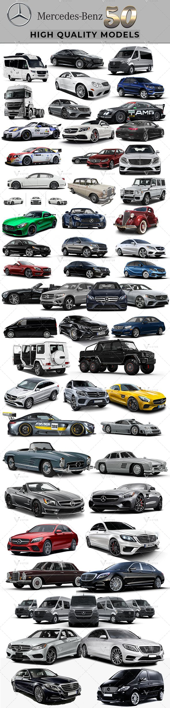 50 Mercedes Cars Collection Pack - 3DOcean Item for Sale