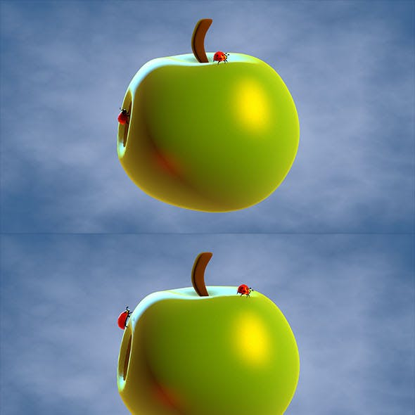 Ladybugs moving on the apple