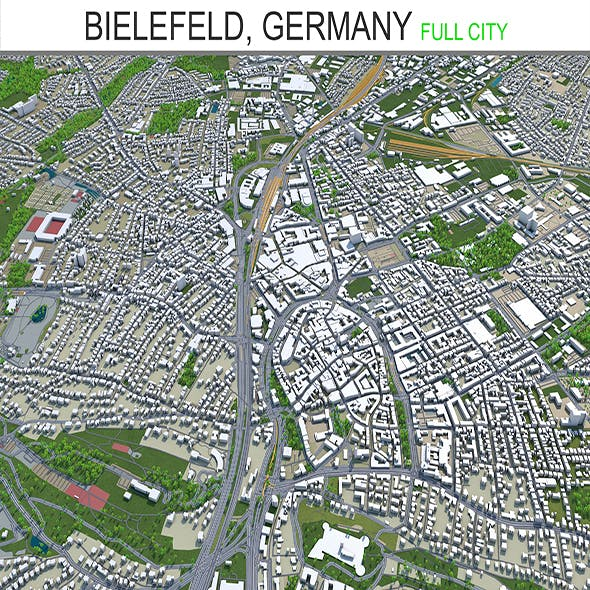 Bielefeld city Germany 3d model 60km