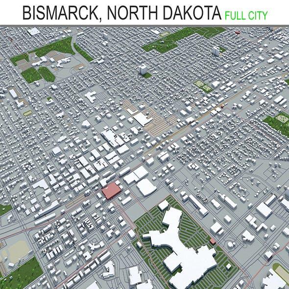 Bismarck city North Dakota 3d model 50 km