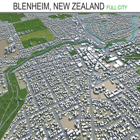 Blenheim city New Zealand 3d model 20km