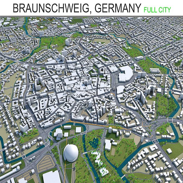 Braunschweig city Germany 3d model 40km
