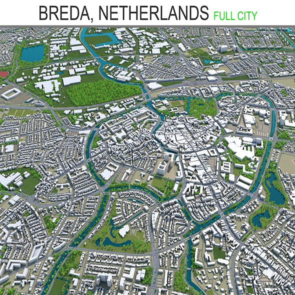 Breda city Netherlands 3d model 50Km