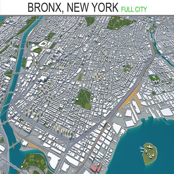Bronx city New York 3d model 30km