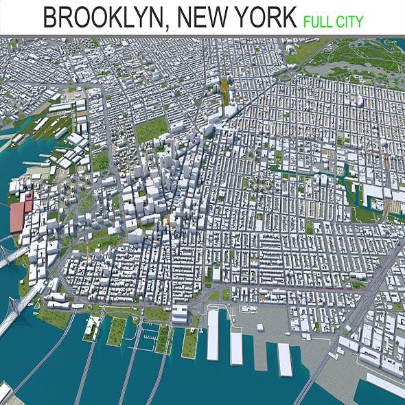 Brooklyn city New York 3d model 40km