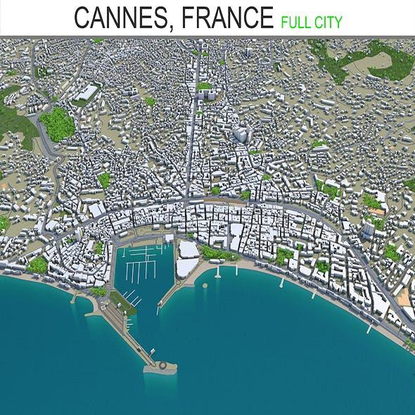Cannes city France 3d model 30km