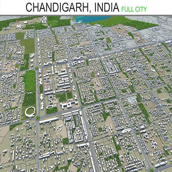 Chandigarh city India 20km 3d model