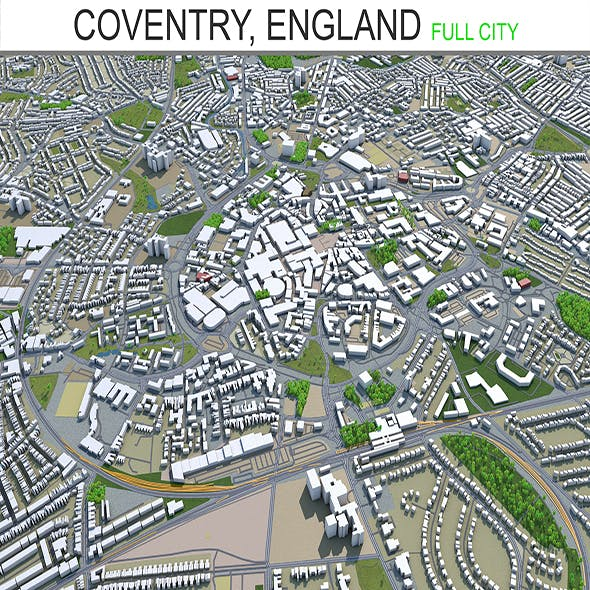 Coventry city England 3d model 30Km