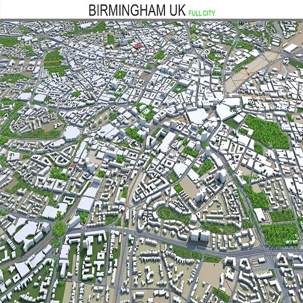 Birmingham city UK 3d model 50 km