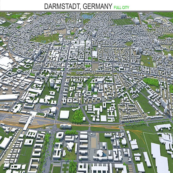 Darmstadt city Germany 3d model 30km