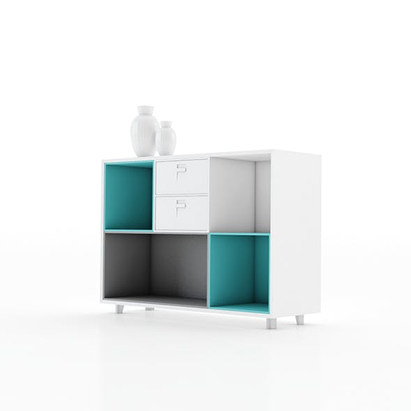 Colourful cabinet in Scandinavian style