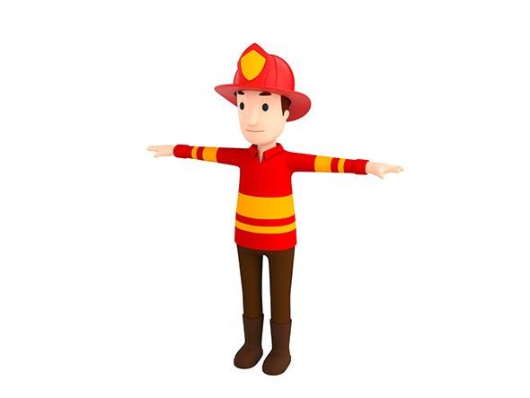 CartoonMan037-Firefighter - 3DOcean Item for Sale