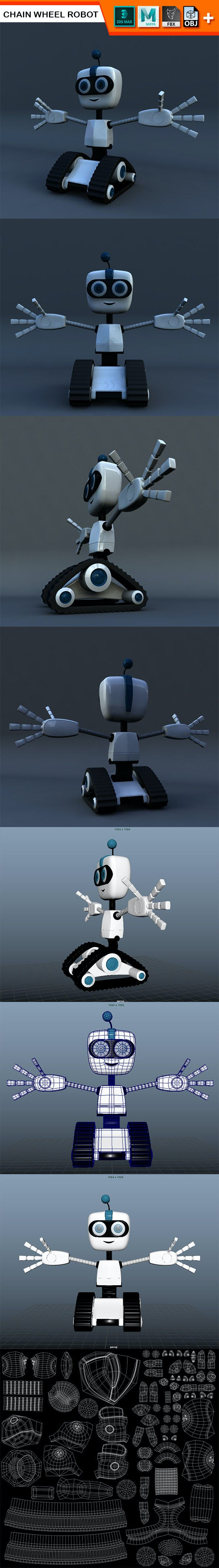 Chain Wheel Robot Model - 3DOcean Item for Sale